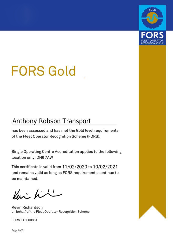 FORS Gold Haulier
