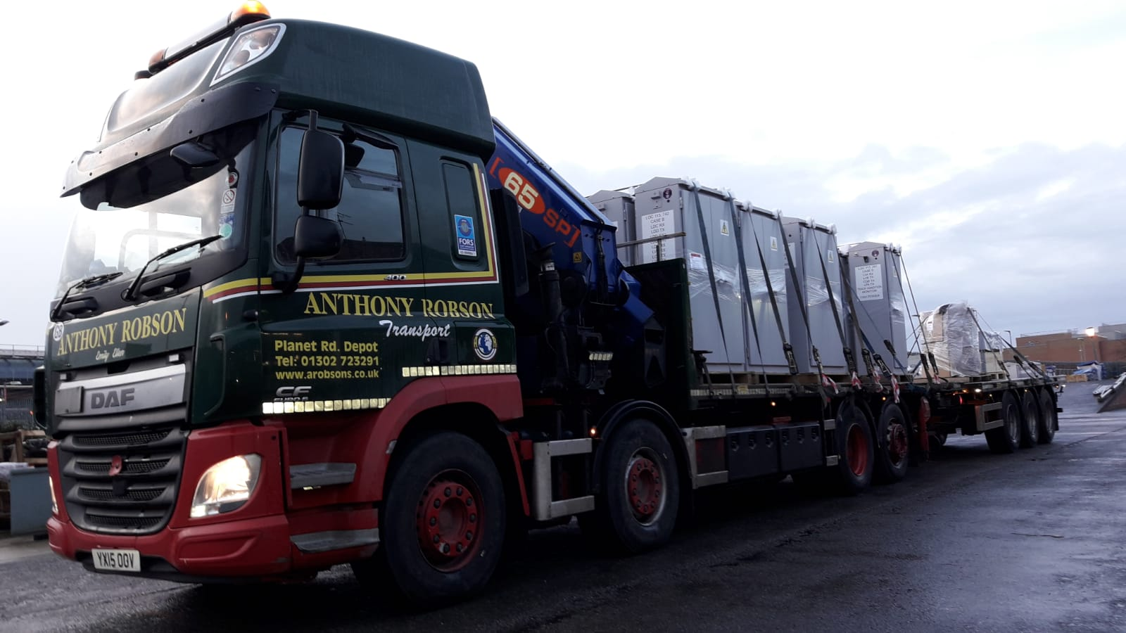 Rigid Hiab & Drawbar trailer loaded