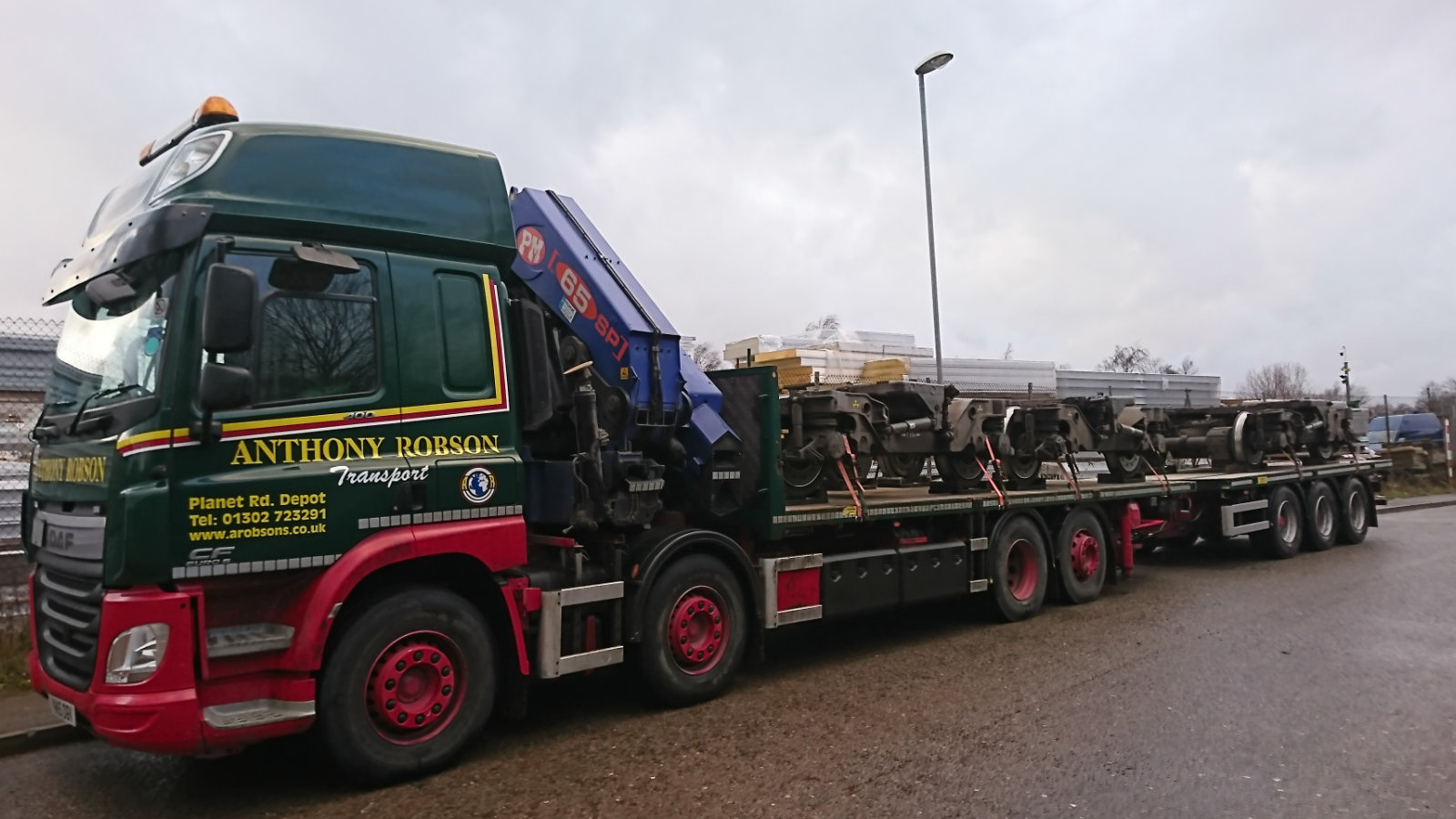 Rigid Hiab & Draw-bar trailer loaded